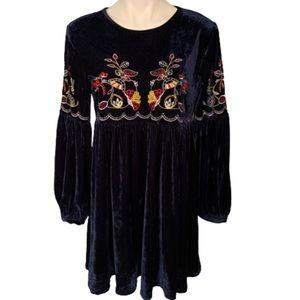 Dresses & Skirts - Bohemian Velvet Blue Embroidered Tunic Dress.